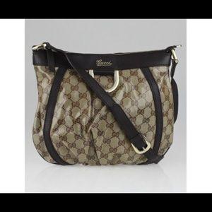 Gucci Beige/Ebony GG Crystal DRing Crossbody Bag